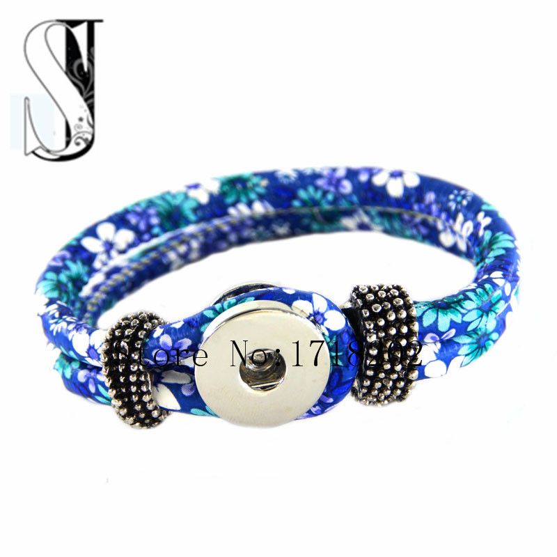 New Arrival Snap Button Bracelet Blue Flower Daisy Printed PU Leather with Ginger Snaps Button Bracelet DIY Interchangeable(China (Mainland))