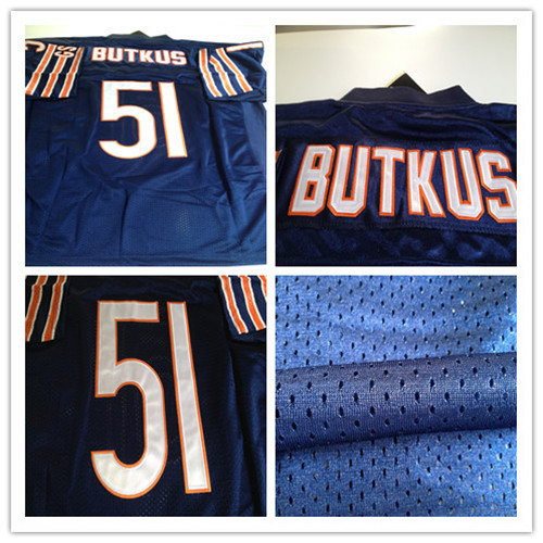 51 Dick Butkus jersey,Blue Throwback mens Football jersey,Best quality,Authentic Jersey,Embroidery Logo,Free shipping(China (Mainland))