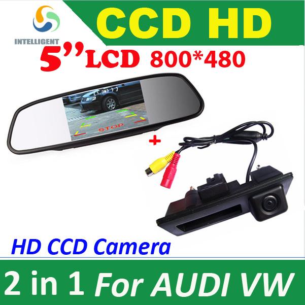 HD 5 Car Monitor + CCD CAR rear view Camera for VW Passat Tiguan Golf Touran Jetta Sharan Touareg for AUDI A4 A5 S5 Q5 PARKING<br><br>Aliexpress