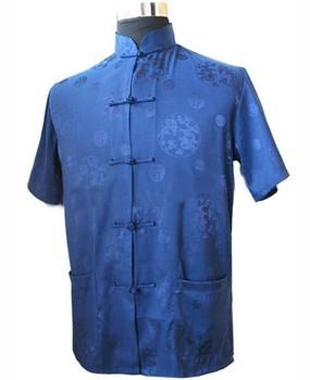 Темно-синий традиционная китайская мужская шелковый атлас кунг-фу рубашка с дракон ...