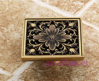 Free Shipping ! Antique Brass Art Carved Flower Floor Drain Bathroom Shower Square Drain Strainer Wholesale & Retail