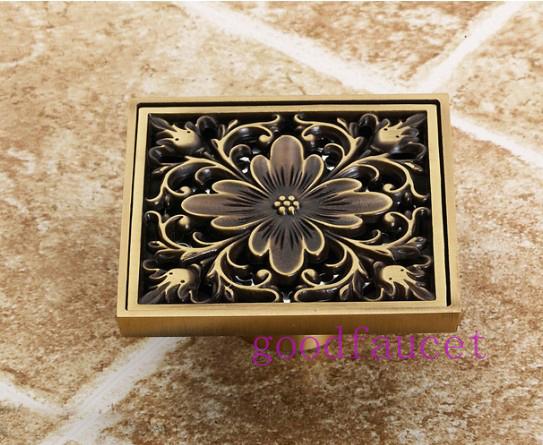 Free Shipping ! Antique Brass Art Carved Flower Floor Drain Bathroom Shower Square Drain Strainer Wholesale & Retail
