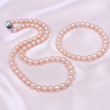 Buy Lii Ji 925 Sterling Silver Jewelry Sets Natural AA Pink Nearround Freshwater Pearl 6-7mm Necklace Bracelet for $76.00 in AliExpress store