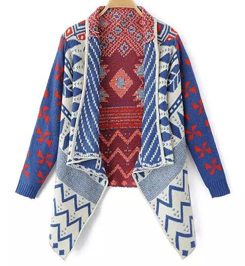 European Style Autumn Geometric Jacquard Asymmetric Cardigan Coat Women New Fall Winter 2014 Fashion Casual Aztec Sweaters