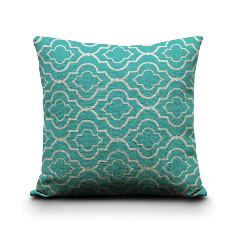 Geometric-Pillow-Covers-Cushion-Covers-Turquoise-cushion-covers-for-sofa-Cotton-Linen-decorative ...