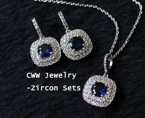 Best Gift Sapphire Earrings and Pendant Neckalce 1.25ct AAA+ Royal Blue CZ Diamond Jewelry Sets For Women (T024)(China (Mainland))