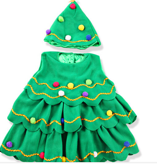 Lovely little kids christmas tree shaped costumes in clothing from