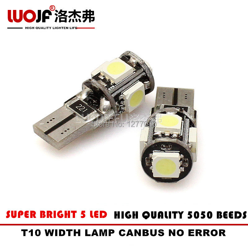 10 pcs/Lot Canbus T10 5SMD 5050 LED Car Interior Light 4300K W5W Led 194 Error Free White WIDTH/NUMBER PLATE/DOOR Car Lamp(China (Mainland))