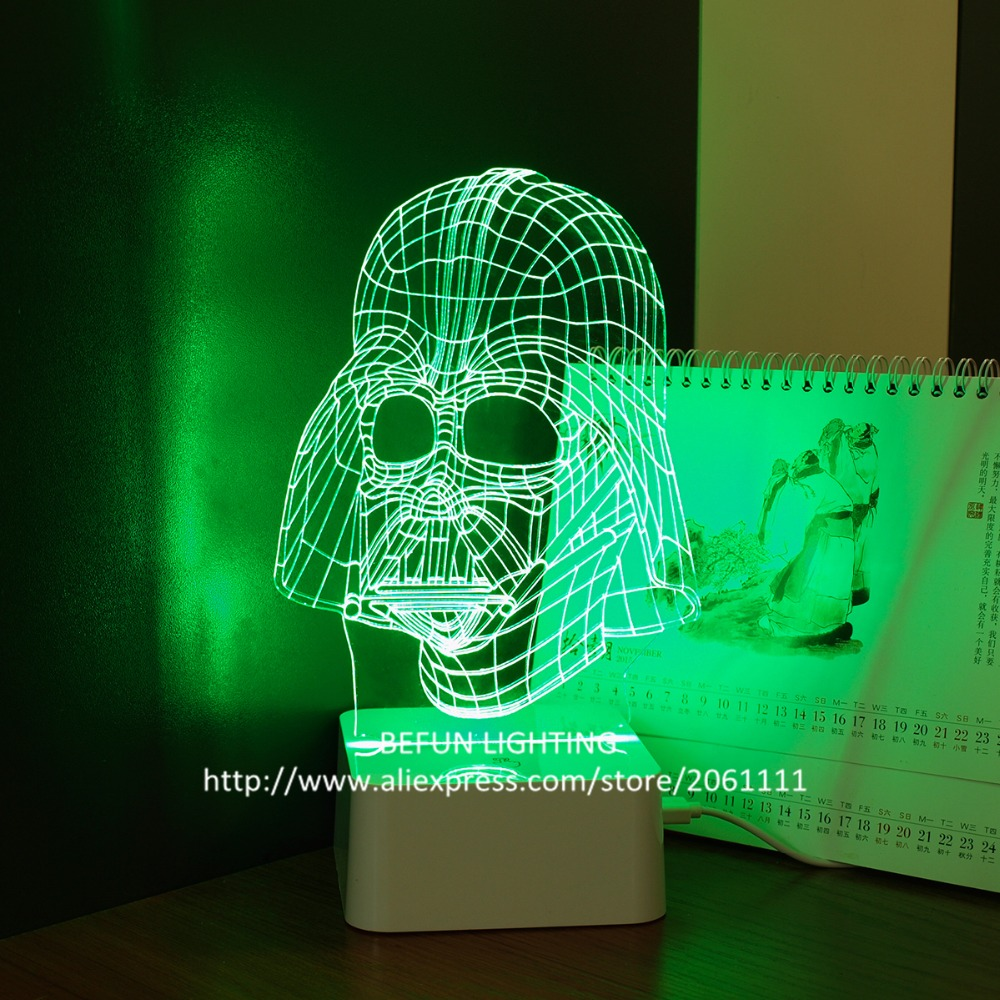 PC acrylic lamp panel color changeable dimmable touch led lamp Star Wars Darth Vader boys night lights USB 3D LED cool lamps(China (Mainland))