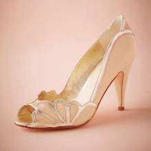 Blush Wedding Shoes Women Pumps Peep Toe Scallop Heel Shoe 3″ High Heels Slip-On Handmade In Party Big Size Sandal Made-to-order