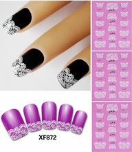 White Flower Lace 3d Nail Art Stickers Decals Self Adhesive Nail decoration NA-0123