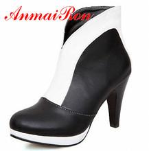 Anmairon tamaño grande 34-47 Sexy tacones altos de punta redonda plataforma mujeres botines botas de Color partido primavera invierno botas de nieve zapatos(China (Mainland))