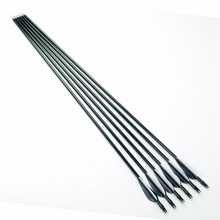 6pcs lot Target Shooting Fiberglass Arrows 31inch Spine 400 Black and White Plastic Feathers Arrows for