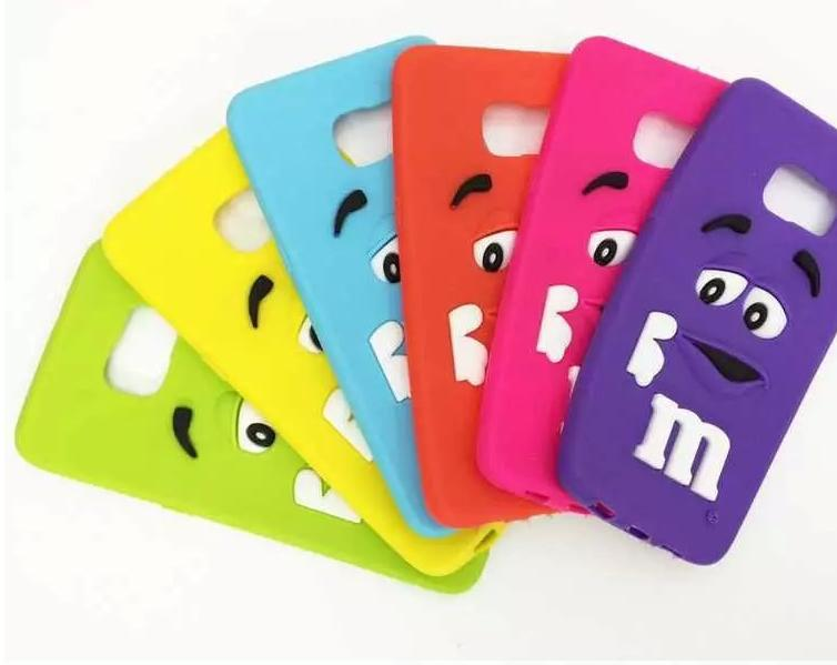 3D Cute cartoon M&M Chocolate Bean Candy Rubber Silicone Cases samsung J7 Cover  -  vivn Store store