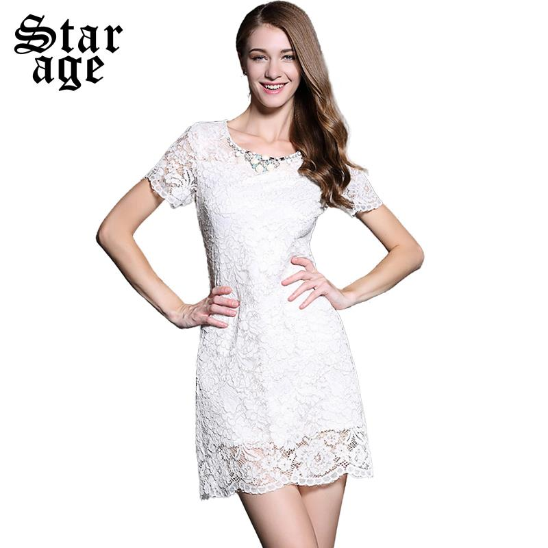 White Lace Dress With Sleeves Knee Length - Dress
