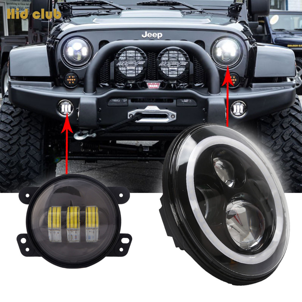 """2X7'' Inch H4 H/L LED Headlight Halo Angel Eyes DRL + 4"""" Halo Front Bumper Fog Light for Jeep Wrangler Hummer Land Rover Truck(China (Mainland))"""