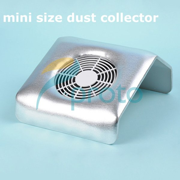 Silver Mini Size Nail Art Dust Suction Collector Vacuum Cleaner with Hand Rest Design Mancure Nail Tools comes with 2 bags E0216