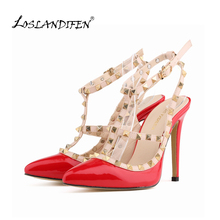 LOSLANDIFEN Free shipping women pumps stiletto fashion sexy hollow rivets stitching fine with high-heeled shoes Wedding 302-5PA(China (Mainland))