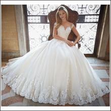 Buy Elegant A-line Lace Wedding Dress 2017 Chapel Train Lace Bride Dresses Vintage Vestido De Noiva Custom Made Size Weeding Dress for $127.80 in AliExpress store