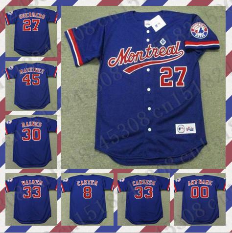 Custom VLADIMIR GUERRERO CANSECO Baseball jersey GARY CARTER WALKER TIM RAINES PEDRO MARTINEZ jersey blue Mens Stitched jerseys(China (Mainland))