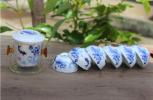 10pcs black tea travel set glass kung set device blue and white porcelain tea cups set