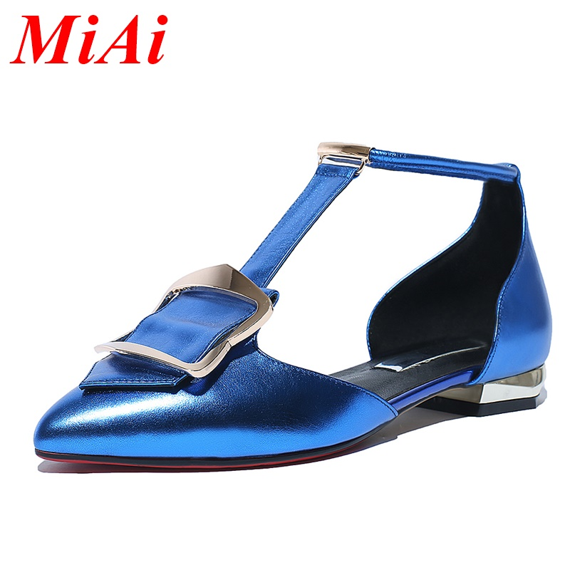 2016 new sexy genuine leather flats shoes fashion T-Strap pointed toe flats heels shoes woman patent leather casual women shoes <br><br>Aliexpress