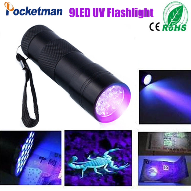 Mini Aluminum 9LED UV Ultra Violet Flashlight Blacklight Invisible Ink Marker Detection Torch Light 3AAA zk94(China (Mainland))