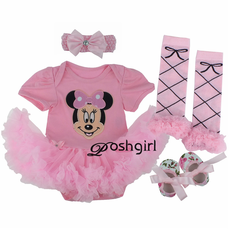 Baby Girl Clothes Newborn Baby Romper Minnie Mouse Tutu dress+headband+shoes+leggings 4pcs/set Outfits Baby Girls Clothing Set(China (Mainland))