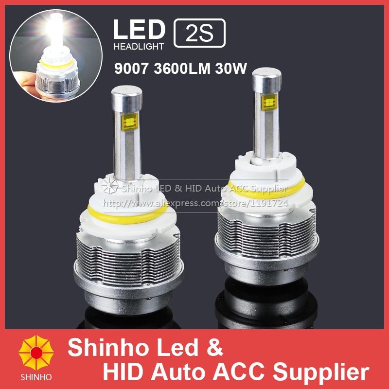 30W 3600lm Car LED Headlight 9007 Bulb H1 H3 H7 H11 H8 9005 HB3 9006 HB4 9004 H4 H4-3 H13 Head Lights 3000K 6000K 8000k - Shinho Auto Accessories Supplier store
