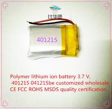 Полимер литиево-ионная аккумулятор 3,7 v, 401215 041215be согласно требованиям клиента CE FCC ROHS сертификацией обращению