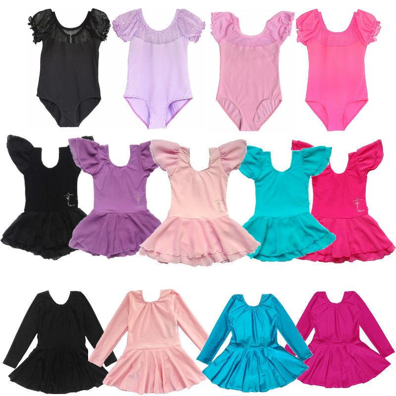 5 Colors Children baby girls short long sleeve leotard ballet tutu dress dance costume 3-14Y kids training gymnastics clothes(China (Mainland))