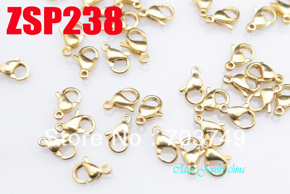 golden color 9#  9mm 316L stainless steel lobster clasp hook  fashion jewelry accessories chain necklace parts SP238<br><br>Aliexpress
