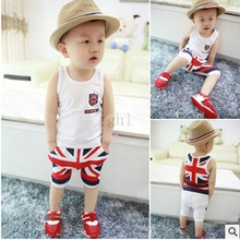 New Summer Children boy clothing set Vest shirt+Short pants England flag Print Baby kids Boy's clothes sets(China (Mainland))