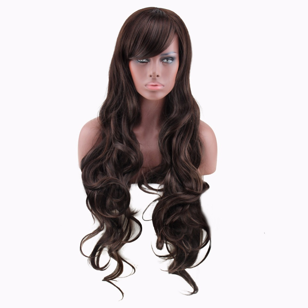 high quality woman wigs dark brown long curly brown wig cosplay heat resistant cheap synthetic wigs women hair wig oblique bangs(China (Mainland))