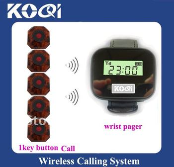 Wireless Pager Calling System for restaurant,hotel,bar,coffee shop DHL Free Shipping  sample system of 5 buttons and 1 watch