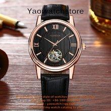 AEHIBO Factory Seller Male Mechanical Movement Watch gold Panel Luxury Brand Gift Clock Black Sub dials can work digital Clock(China (Mainland))
