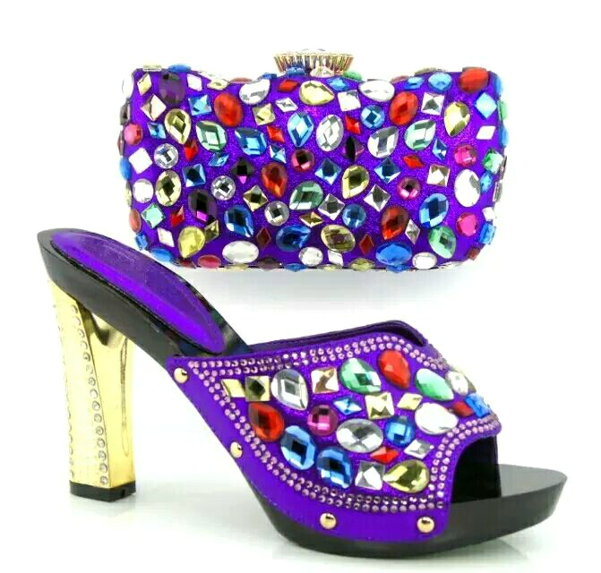 Fashion Shoes And Bags To Match Italian Design PU Leather Material Italian Shoes With Matching Bags Set Purple Sandal Size 37-43(China (Mainland))