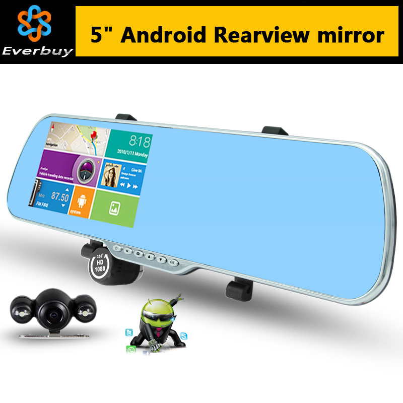 "5.0"" Touch Android Rearview Mirror Car GPS navigation 1080P car dvr Dual camera Rear view FM Truck vehicle gps Navigator sat nav(China (Mainland))"