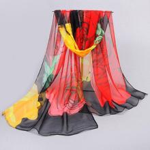 Accessories women scarf 2017 new design long shawl print scarves cape silk chiffon tippet muffler(China (Mainland))