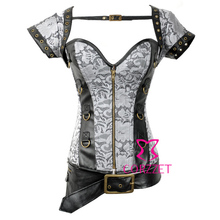 2014Silver Grey Zipper Front Gothic Clothing Steampunk Corset Burlesque Sexy Corselet Hot Shapers Punk Corsets And Bustiers Tops