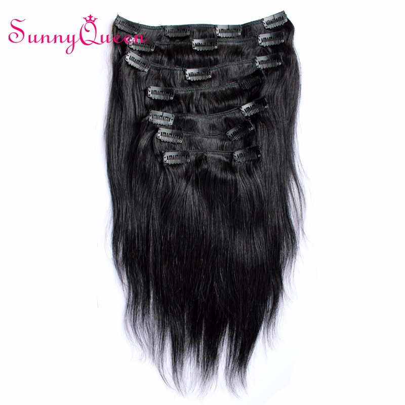7A Clip In Human Hair Extensions Malaysian Virgin Hair Straight Clip Ins African American Clip In Human Hair Extensions