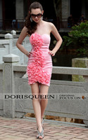 новый готовы носить сексуальное платье без бретелек Розовая аппликация выше колена рябить цветок сексуальные короткие платья коктейль