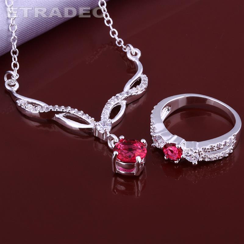 Pretty tassel blower ruby ring Graceful pendant necklace wedding jewelry 2015 bulk sale cheap bridal party jewelry sets(China (Mainland))