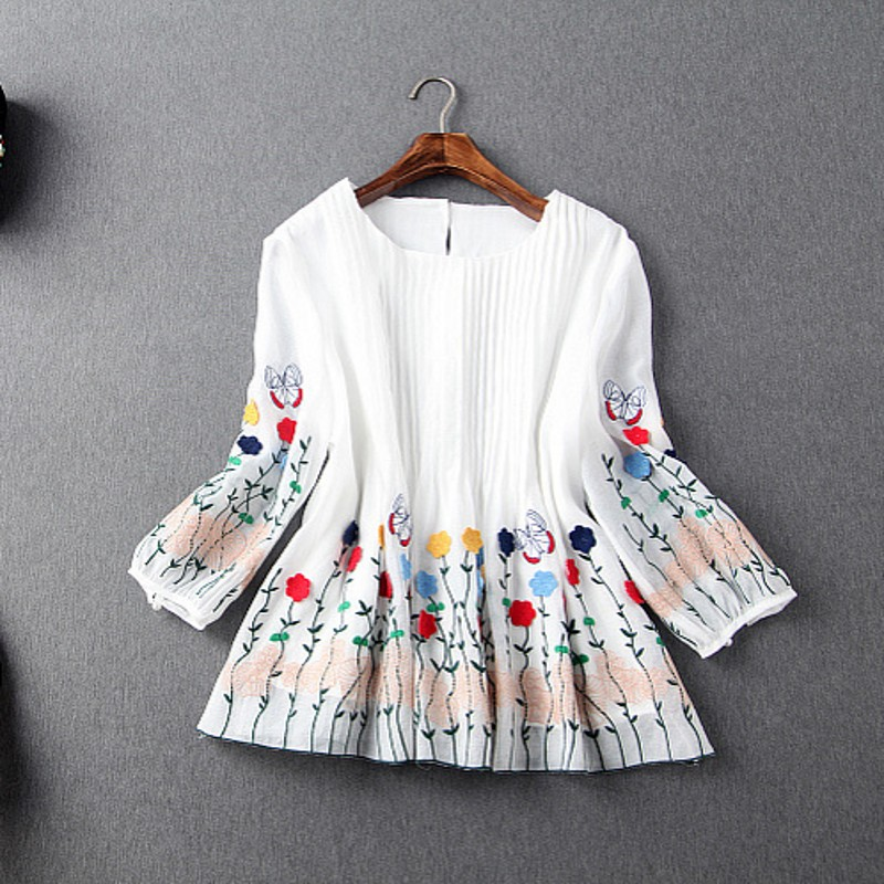 Europe and the United States women's wear the new summer 2016 heavy crushing embroidery snow spins unlined upper garment(China (Mainland))
