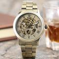SHENHUA Vintage Full Bronze Automatic Mechanical Watches Male Skeleton Watch Men Copper Steampunk Wrist Watches Horloges