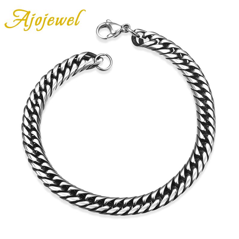 1218 Ajojewel Fashion Cool Presentoir 316L Stainless Steel Men's Chain Bracelet 7MM(China (Mainland))