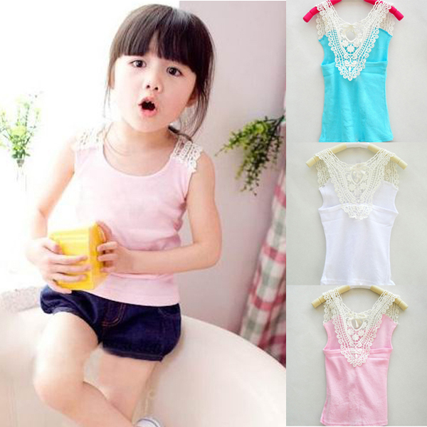 Kids Girls Crochet Hollow Out Floral Tops T Shirts Vest T-shirts Candy Color 0-3Y Dropshipping(China (Mainland))