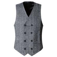 Winter British Style Busness Blazer Vest Slim Fit Suit Vest Colete Masculino Sleeveless Jacket V-neck Waistcoat 72305