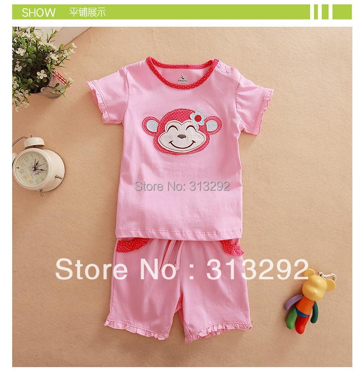 JTS57, Monkey, 6sets/lot, Baby/Children clothing set, 100% Cotton short sleeve T shirt + shorts sets, pajamas for 6M-3 year.<br><br>Aliexpress