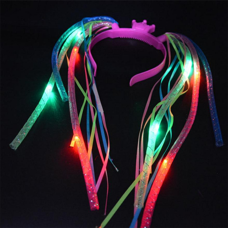 35units/lot Wholesale Light Up colorful Crown Braids Head Band LED Lights Party Headband Rave Party(China (Mainland))